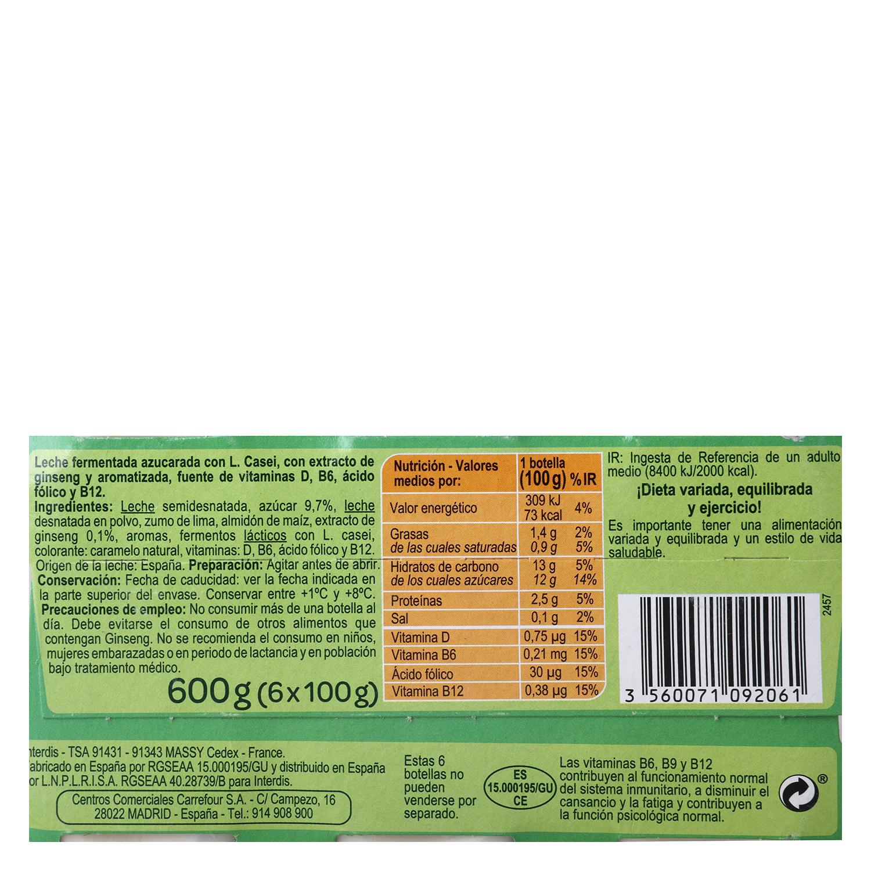 Yogur L.Casei liquido azucarado con ginseng Sanus Carrefour pack de 6 unidades de 100 g. -