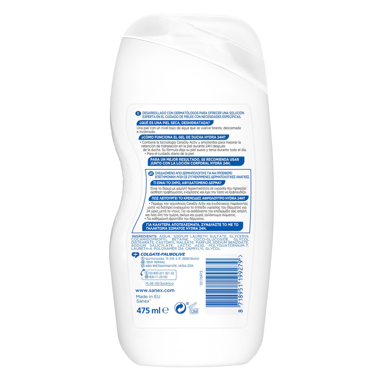 Gel de ducha Advanced Hydra 24h para piel muy seca Sanex 475 ml. -