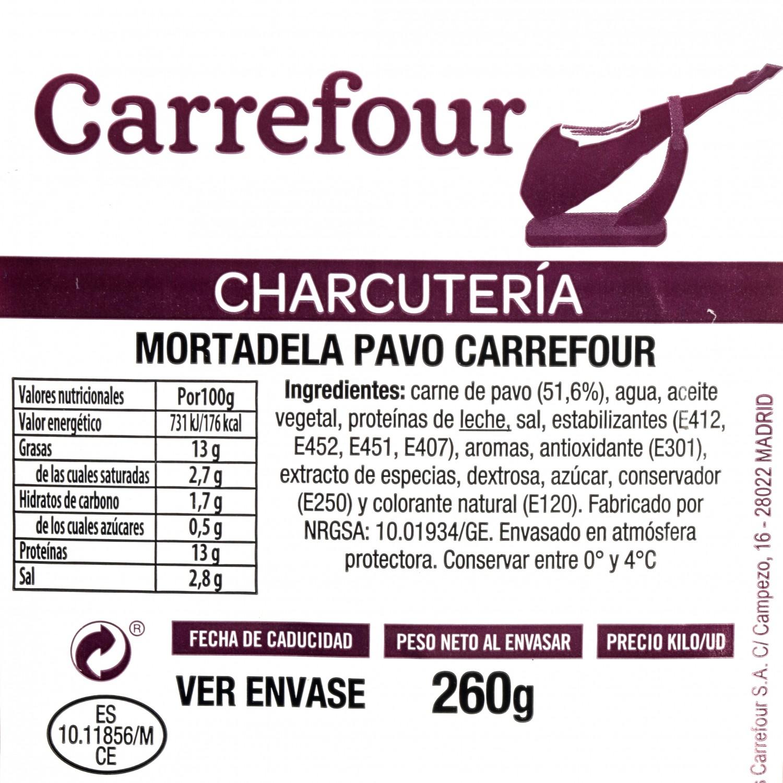 Mortadela de pavo lonchas Carrefour envase 250 g - 3