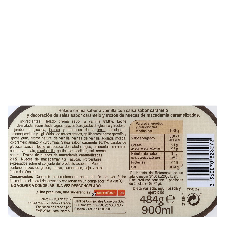 Helado de Vainilla y Nueces de macadamia -