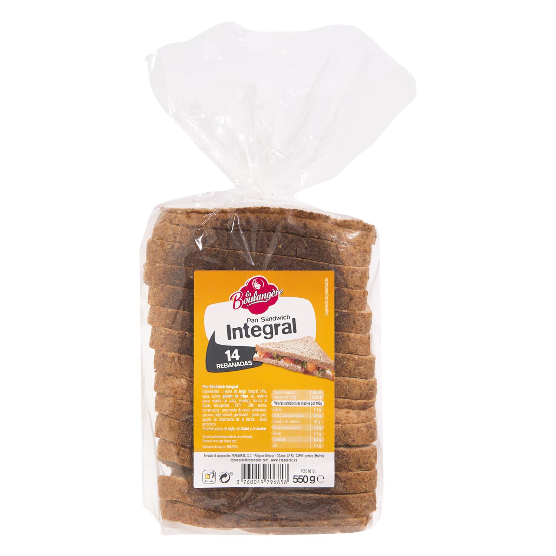 Pan de sandwich integral La Boulangere 550 g.