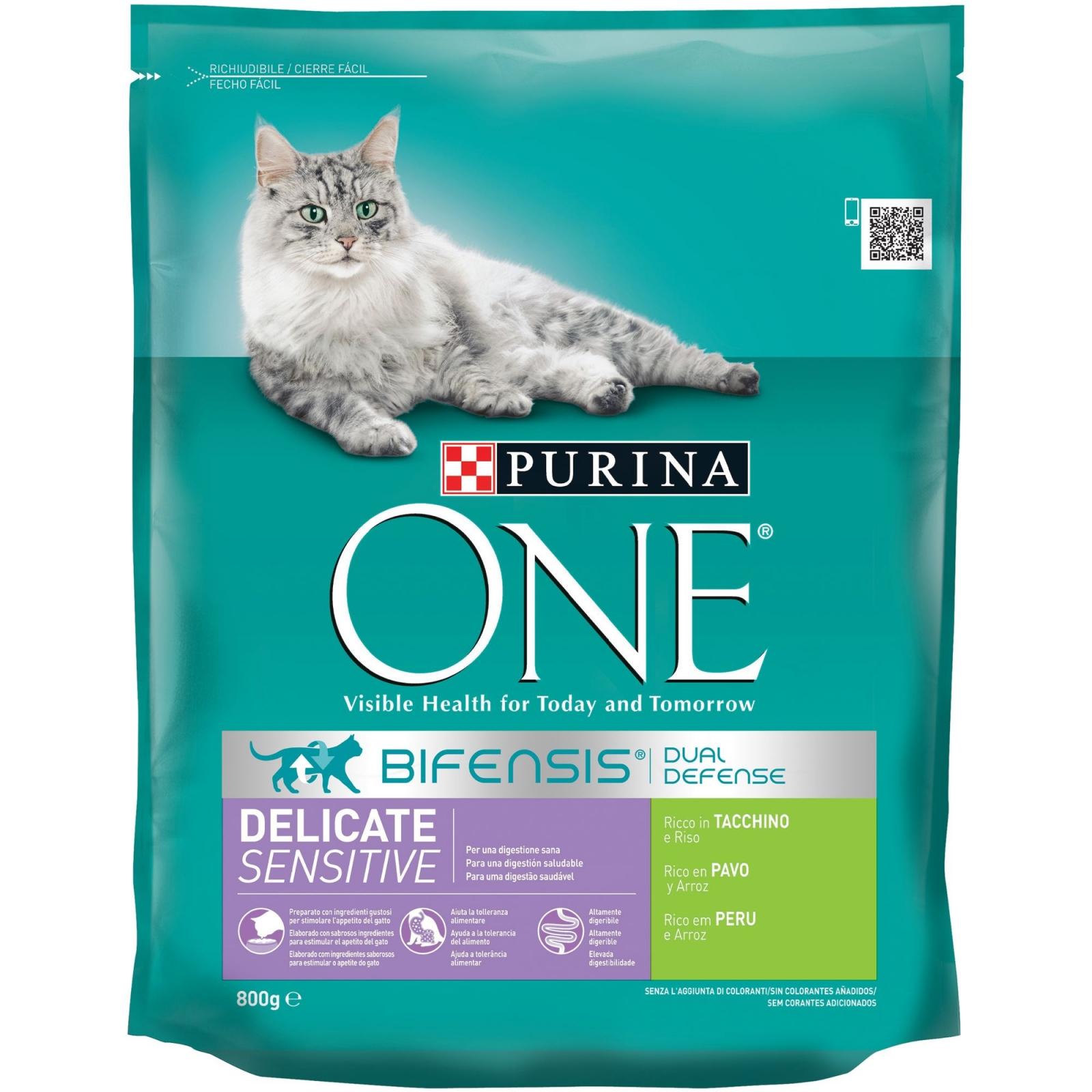 Purina ONE Bifensis Pienso para Gato Digestión Sensible Salmón y Cereales 800g