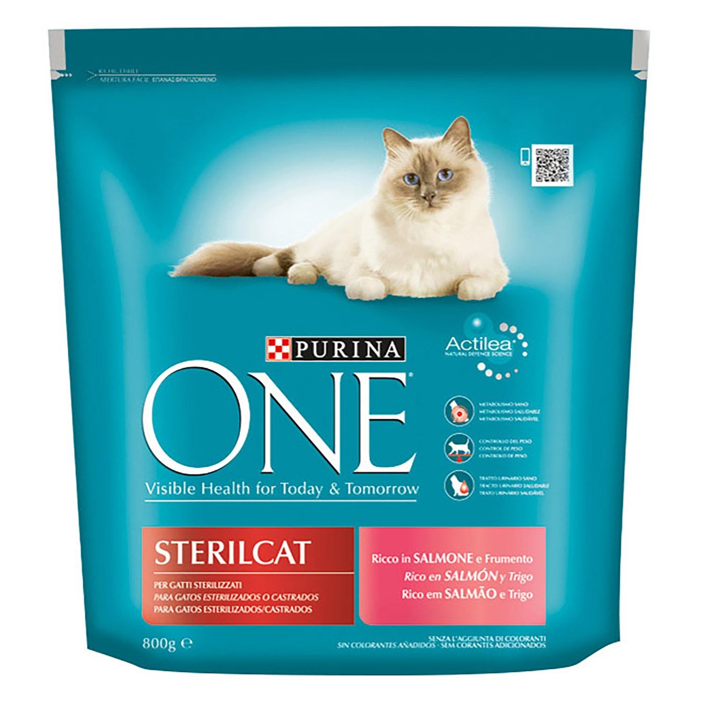 Purina ONE Bifensis Pienso para Gatos Esterilizados Salmón y Trigo 800g