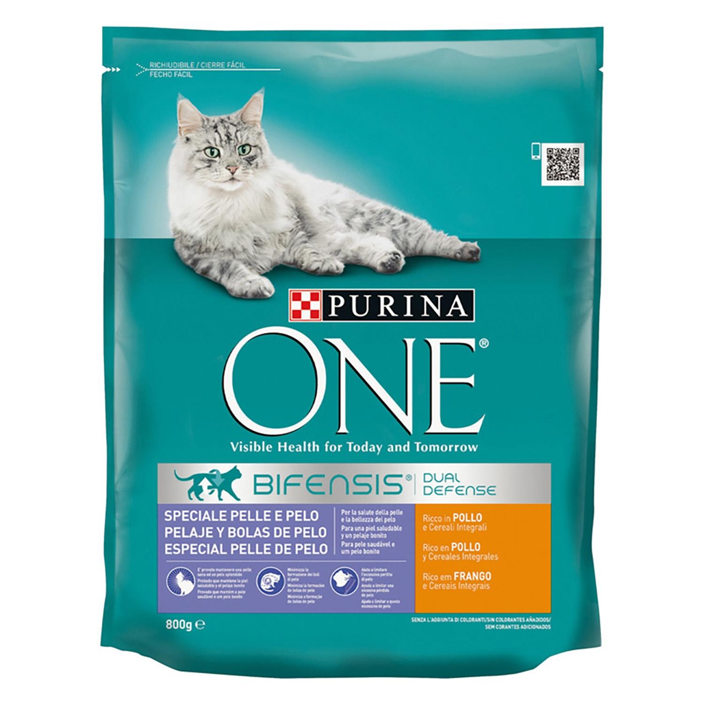 Purina ONE Bifensis Pienso para Gato Pelaje y Bolas de pelo Pollo y Cereales 800g -
