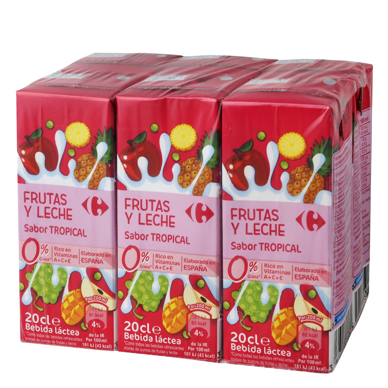 Zumo de fruta y leche Carrefour Tropical pack de 6 briks de 20 cl.
