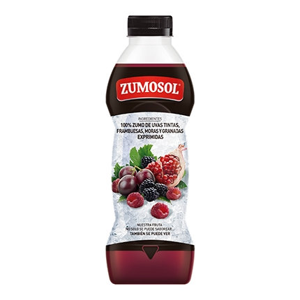 Zumo de uva, frambuesa, granada y mora Zumosol exprimido botella 75 cl.
