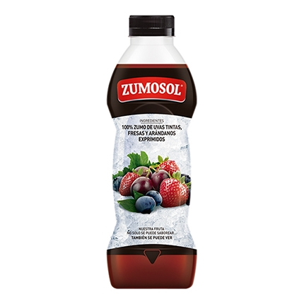Zumo de uva, fresas y arándanos Zumosol exprimido botella  75 cl.
