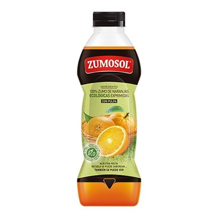 Zumo de naranja ecológico Zumosol exprimido con pulpa botella 75 cl.