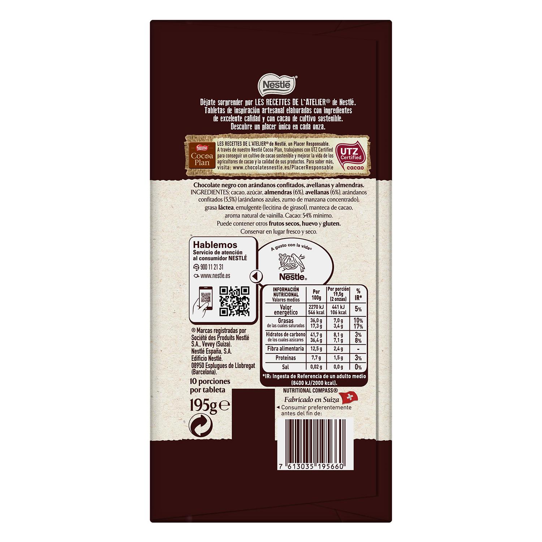 Chocolate negro con arándanos,almendras y avellanas Nestlé 195 g. -