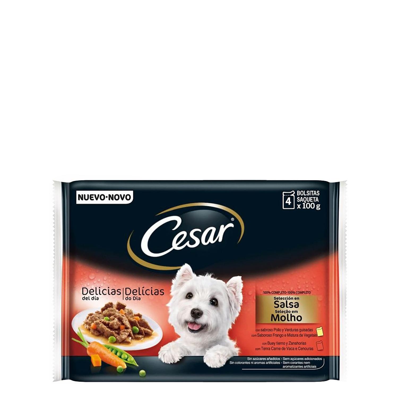 Pack 4 Bolsitas de 100 gr Comida Húmeda para Perros Cesar -
