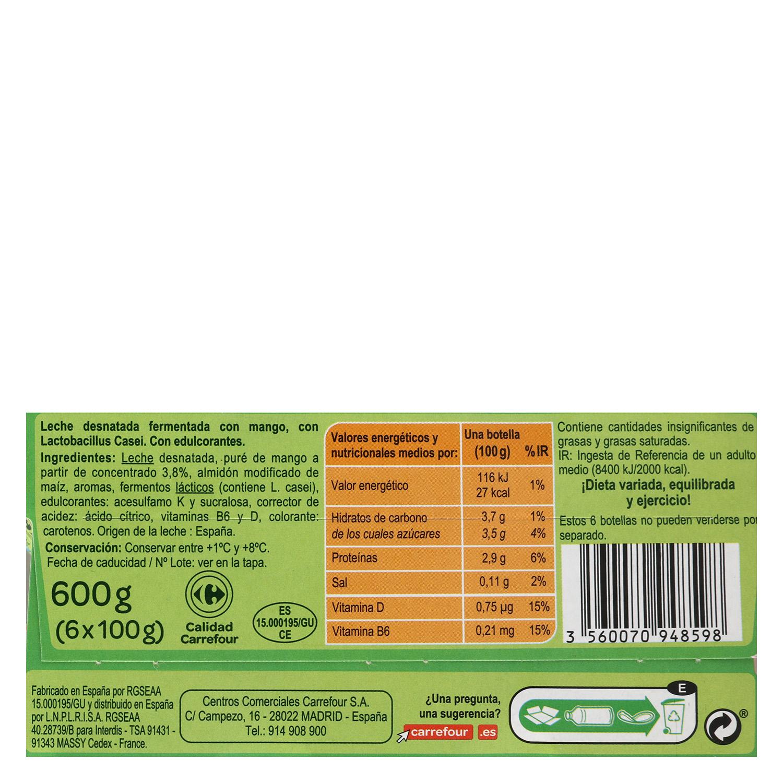 Yogur L.Casei desnatado liquido con mango Sanus Carrefour pack de 6 unidades de 100 g. -