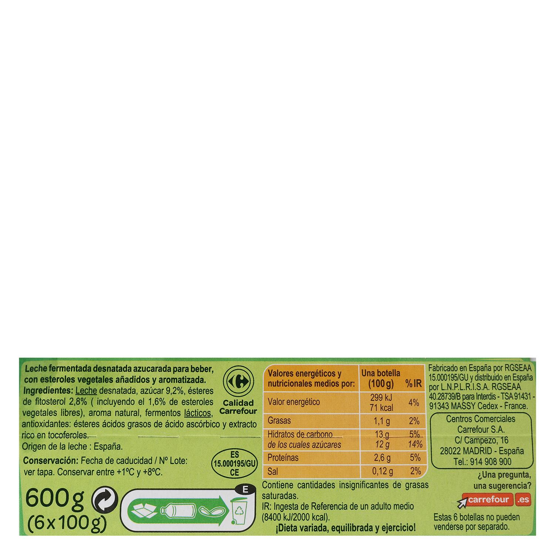 Yogur líquido Sanuscol natural azucarado -