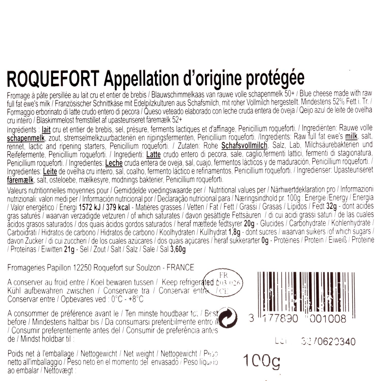 Queso azul roquefort Papillón Iberconseil porción 100 g - 3