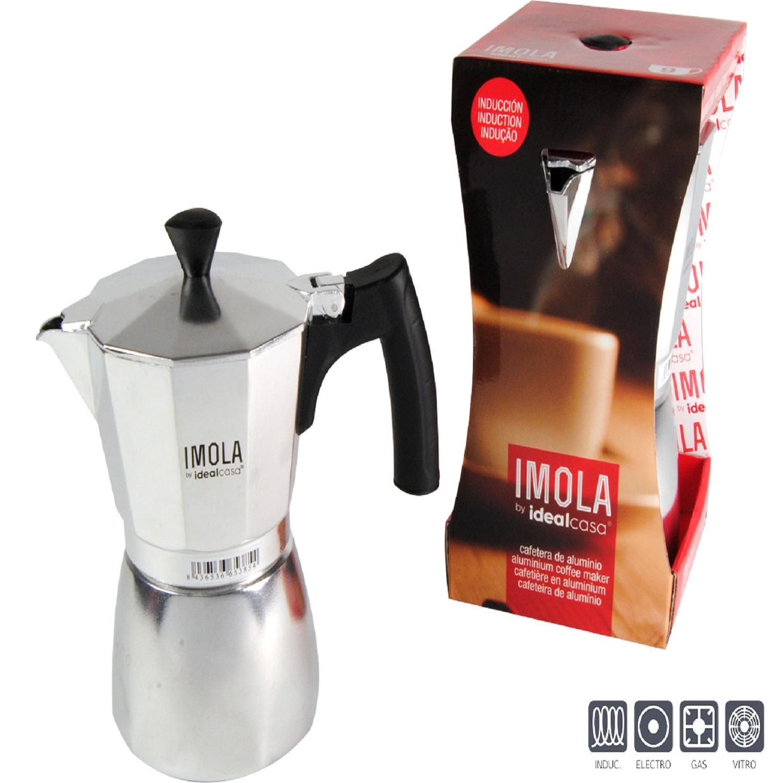 Cafetera de Aluminio Idealcasa Imola 6 Tazas - Plateada -