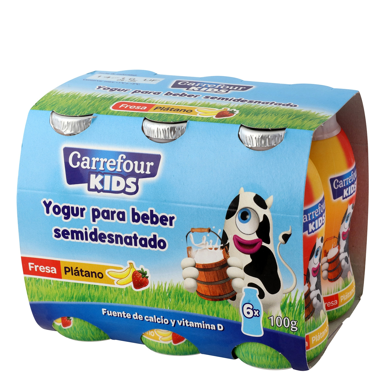 Yogur semidesnatado líquido de fresa y plátano Carrefour Kids pack de 6 unidades de 100 g.