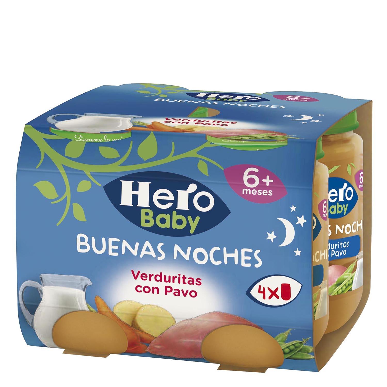 Tarrito de verduritas con pavo Hero Babynoches pack de 4 unidades de 190 g.