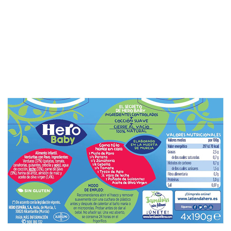 Tarrito de verduritas con pavo Hero Babynoches pack de 4 unidades de 190 g. -