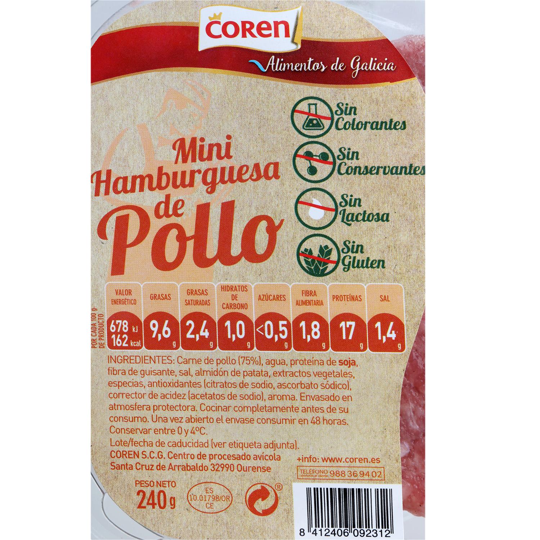 Hamburguesa de Pollo Mini Coren (6x40g) 240 g - 3