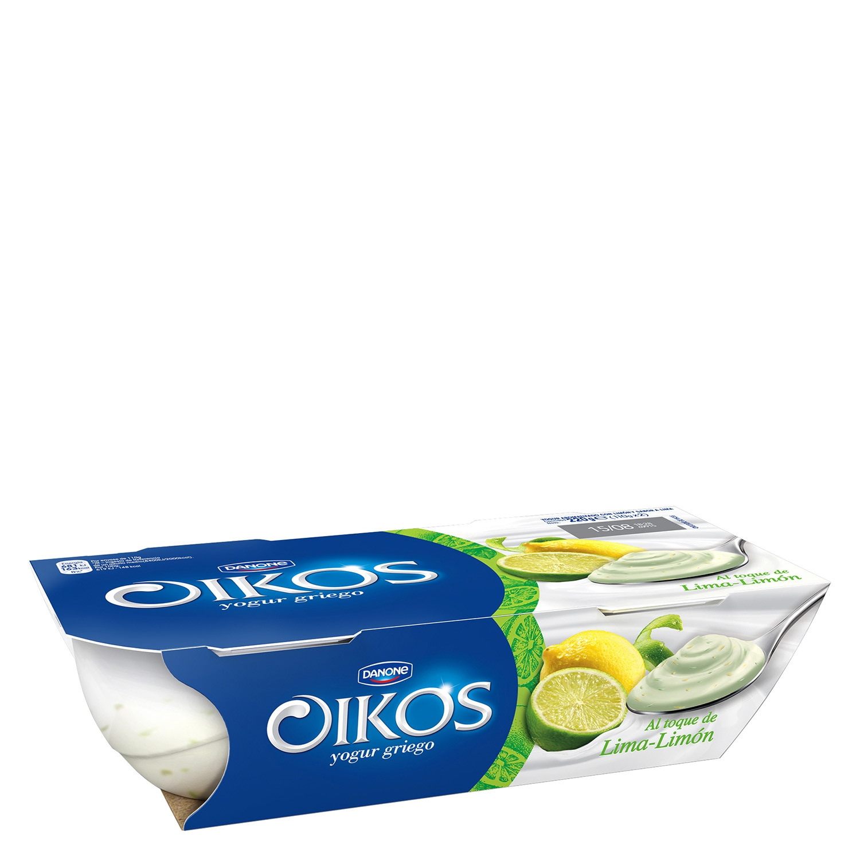 Yogur griego toque lima-limón Danone Oikos pack de 2 unidades de 110 g.