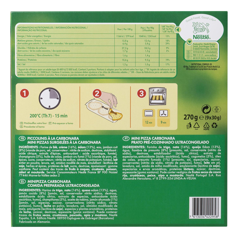 Piccolinis a la carbonara Buitoni 270 g. - 2