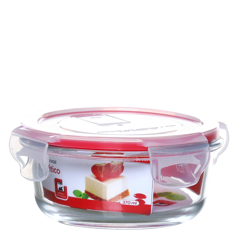 Recipiente Hermetico Redondo de Cristal 0,37 L. - Transparente