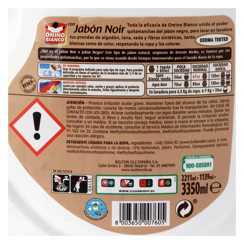 Detergente líquido con jabón noir -