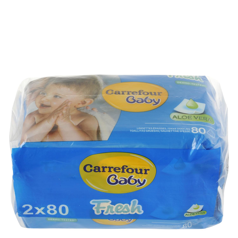 Toallitas de bebé con aloe vera Carrefour Baby pack de 2 paquetes de 80 ud.