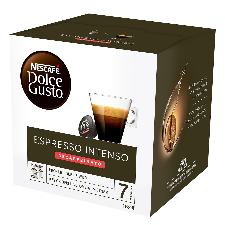 Café espresso intenso descafeinado en cápsulas Nescafé Dolce Gusto 16 unidades de 7 g.
