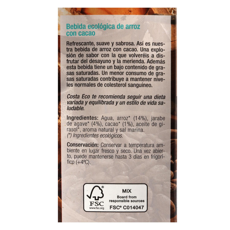 Bebida de arroz ecológica Costa Eco con cacao brik 1 l. - 3