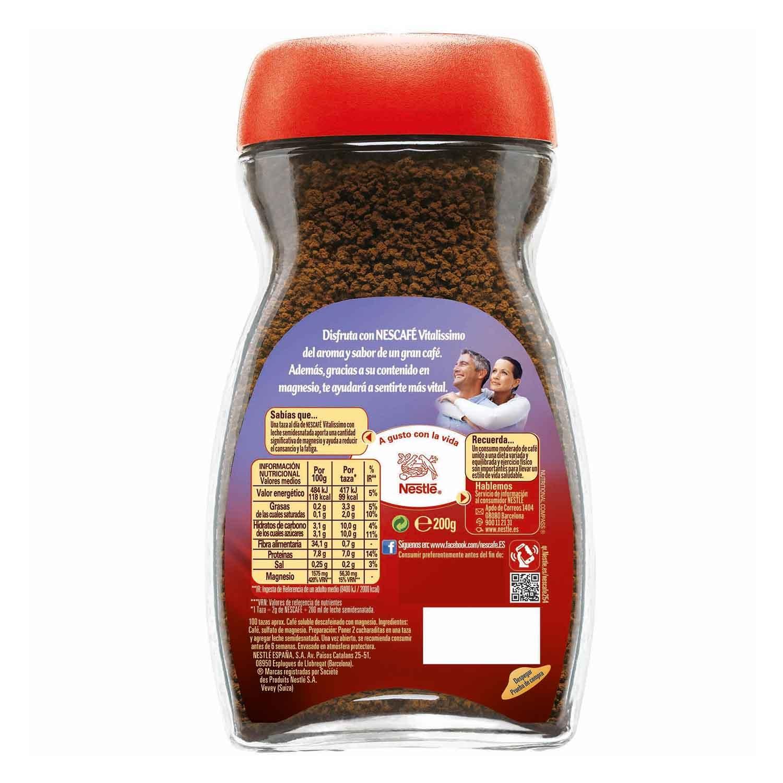 Café soluble descafeinado con magnesio vitalissimo Nescafé 200 g. -