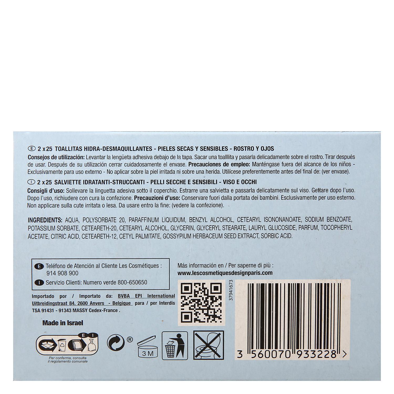 Toallitas Hidra-desmaquillantes para pieles secas y sensibles  -