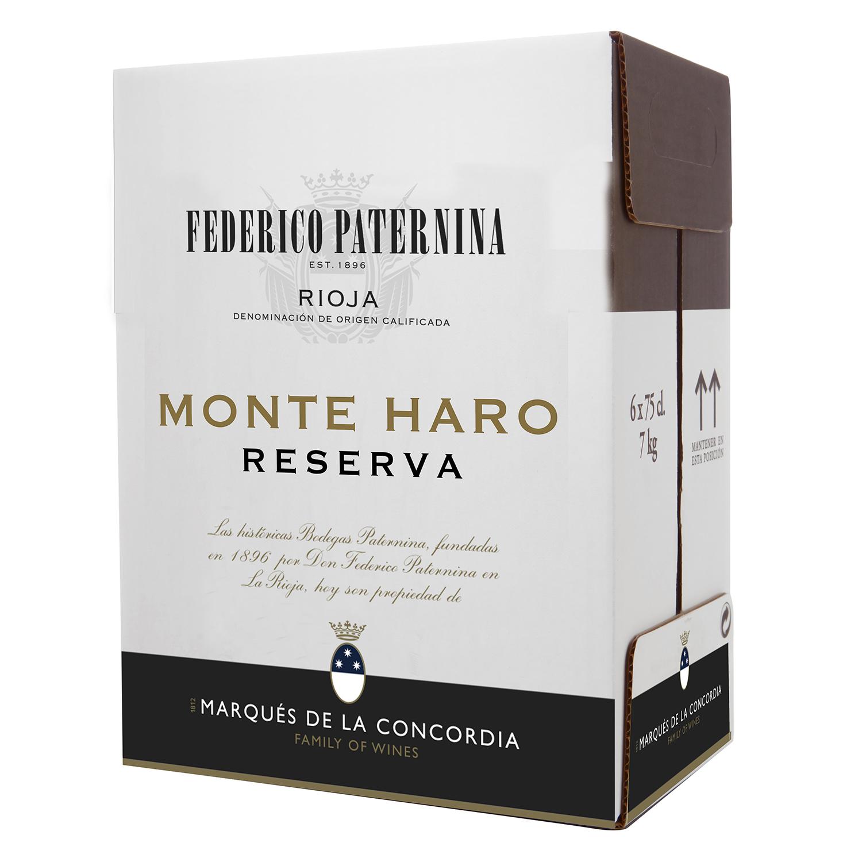 Vino D.O. Rioja tinto reserva Monte Haro Federico Paternina pack de 6 botellas de 75 cl.