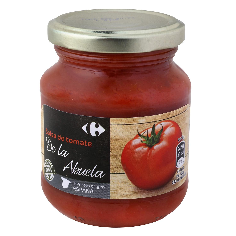 Salsa de tomate con aceite de oliva Carrefour tarro 300 g.