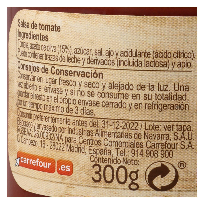 Salsa de tomate con aceite de oliva Carrefour tarro 300 g. - 2