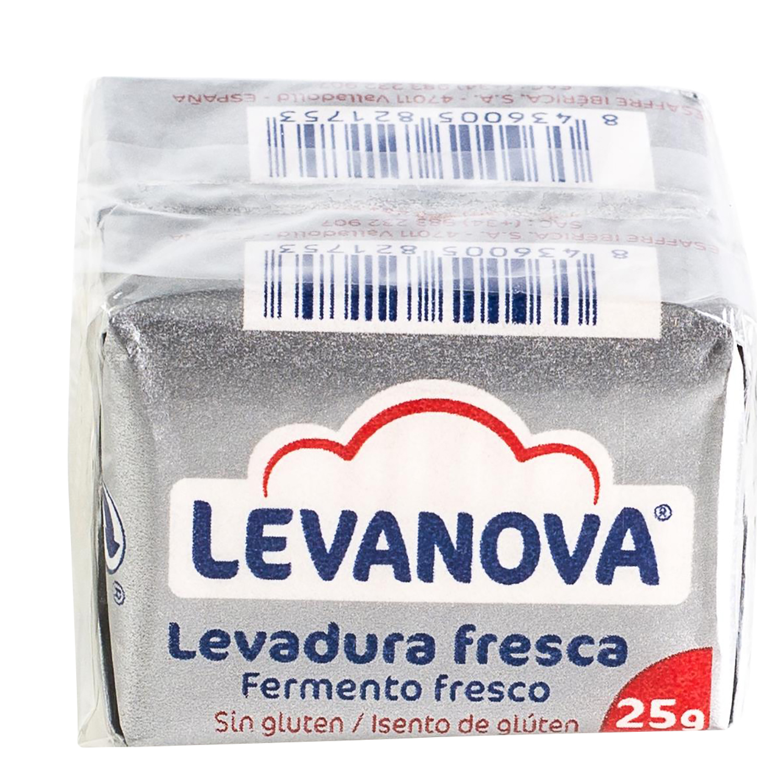 Levadura fresca Levanova sin gluten pack de 2 sobres de 25 g.