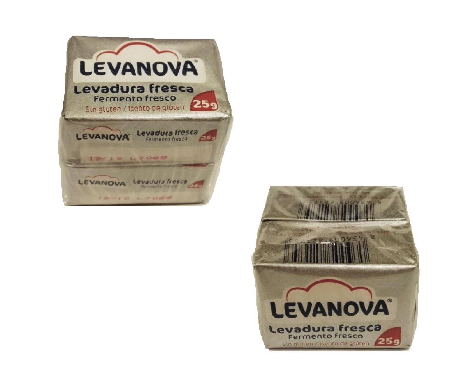 Levadura fresca Levanova sin gluten pack de 2 sobres de 25 g.  -