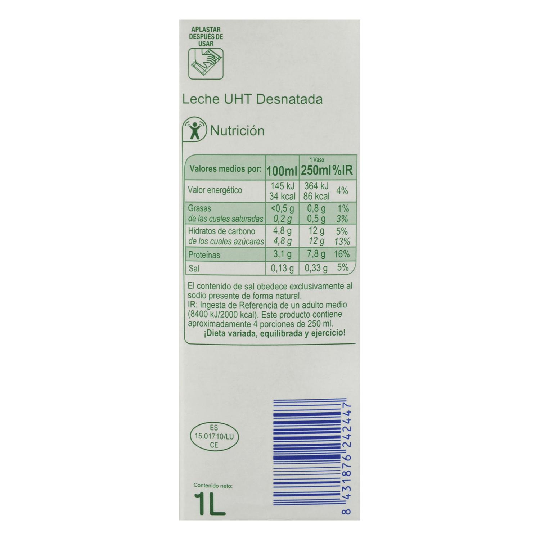 Leche desnatada Producto blanco brik 1 l. - 2