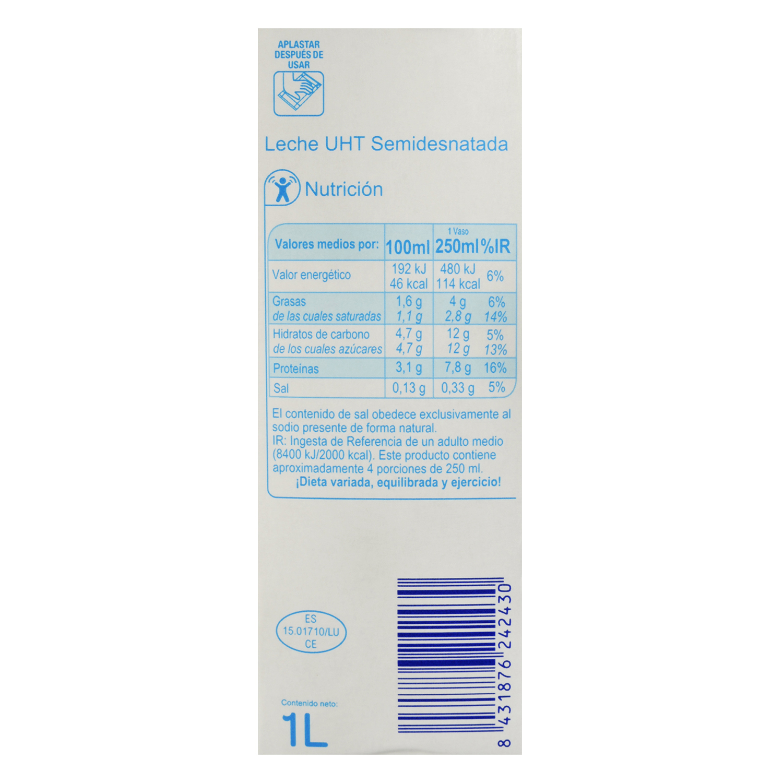 Leche semidesnatada Producto blanco brik 1 l. - 2