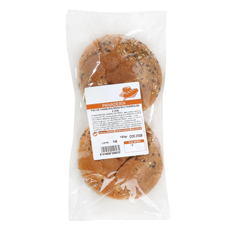Pan de hamburguesa multicereales 2 unidades de 1 ud. -