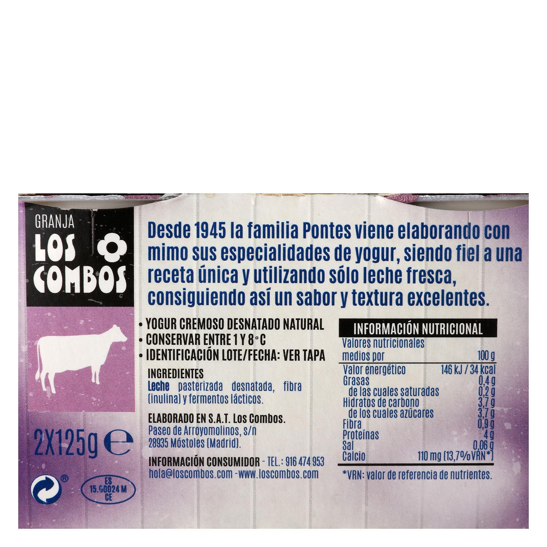 Yogur cremoso desnatado natural -