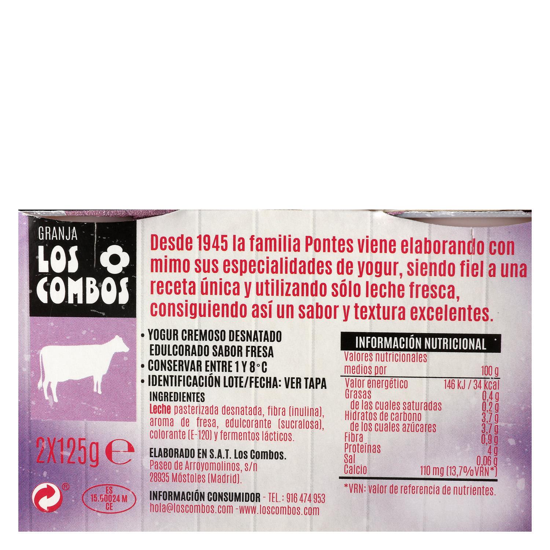 Yogur desnatado cremoso de fresa Los Combos sin gluten pack de 2 unidades de 125 g. -