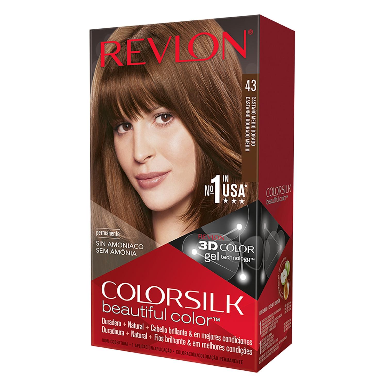 Tinte Colorsilk nº 43 Castaño Medio Dorado Revlon 1 ud.