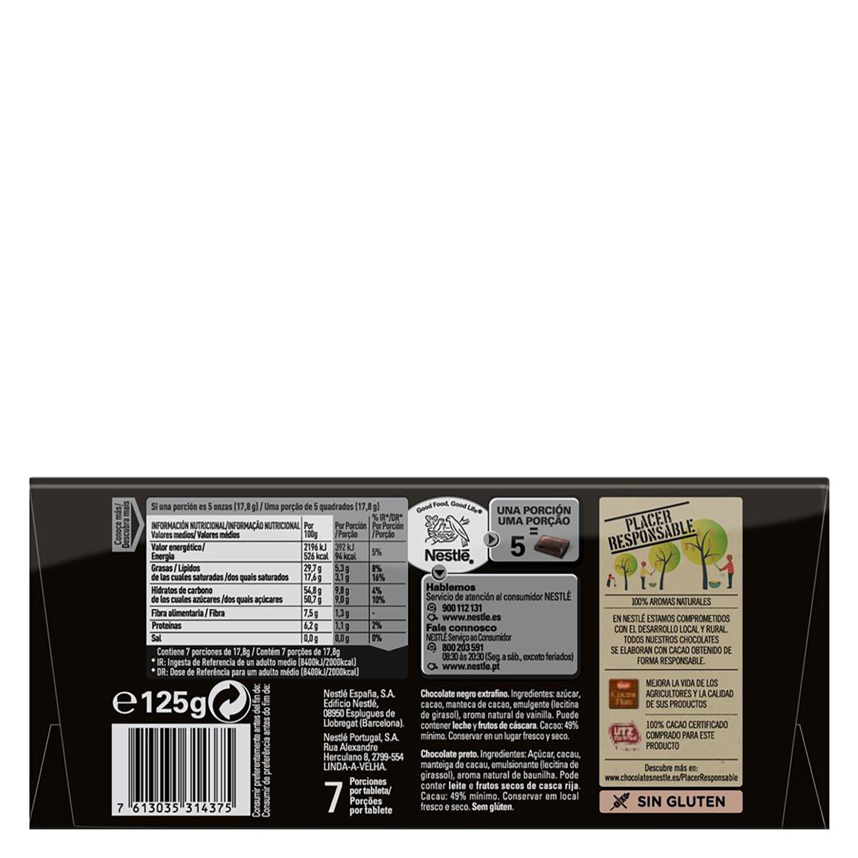 Chocolate negro extrafino Nestlé sin gluten 125 g. -