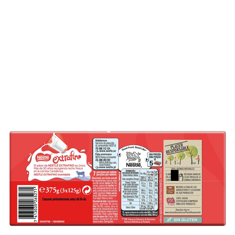 Chocolate con leche extrafino Nestlé pack de 3 tabletas de 125 g. -