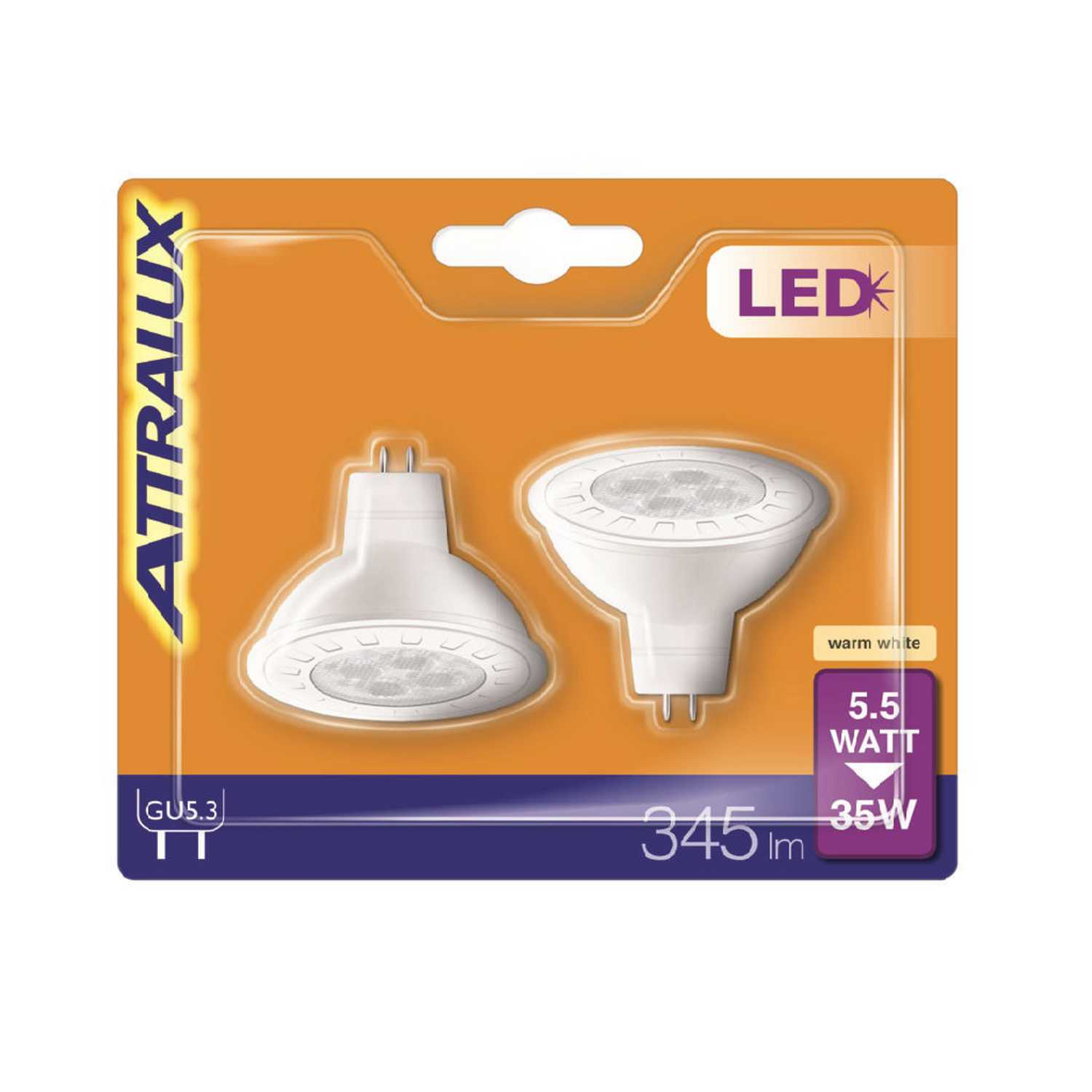 Pack 2 Led Dicroica 35WGU5.3 Cálida Attralux