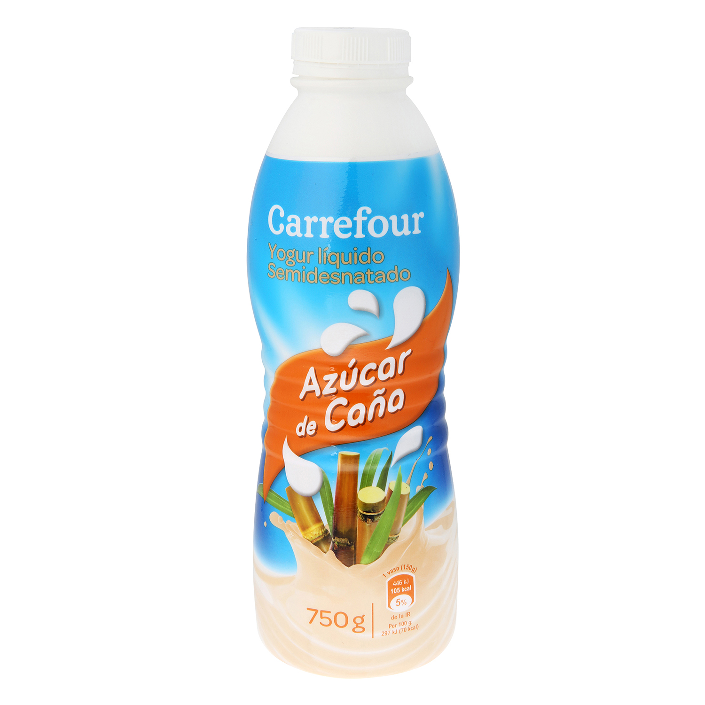Yogur semidesnatado líquido con azúcar de caña Carrefour 750 ml.