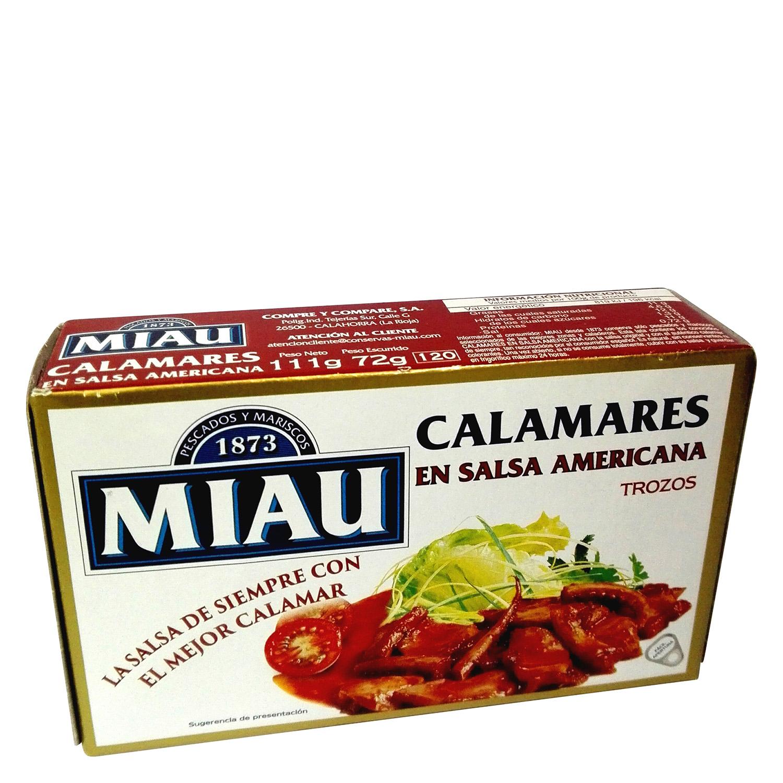 Calamares en salsa americana Miau 72 g.