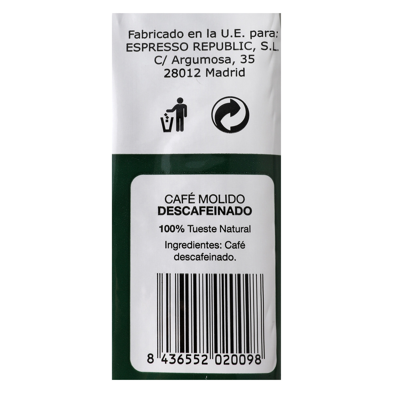 Café molido natural descafeinado Abbantia 250 g. - 2