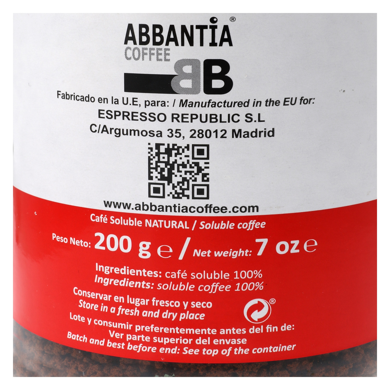 Café soluble natural Abbantia 200 g. -