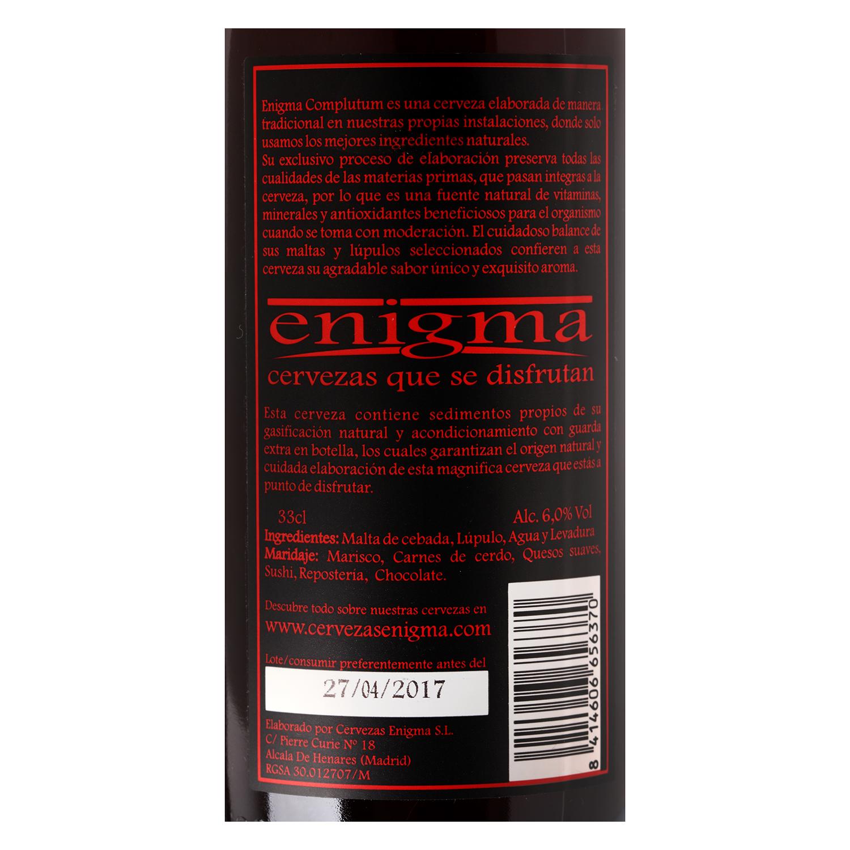 Cerveza artesana Enigma Complutum botella 33 cl. -
